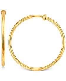 "Medium Polished Clip-On Hoop Earrings in 14k Gold, 1-3/16"""