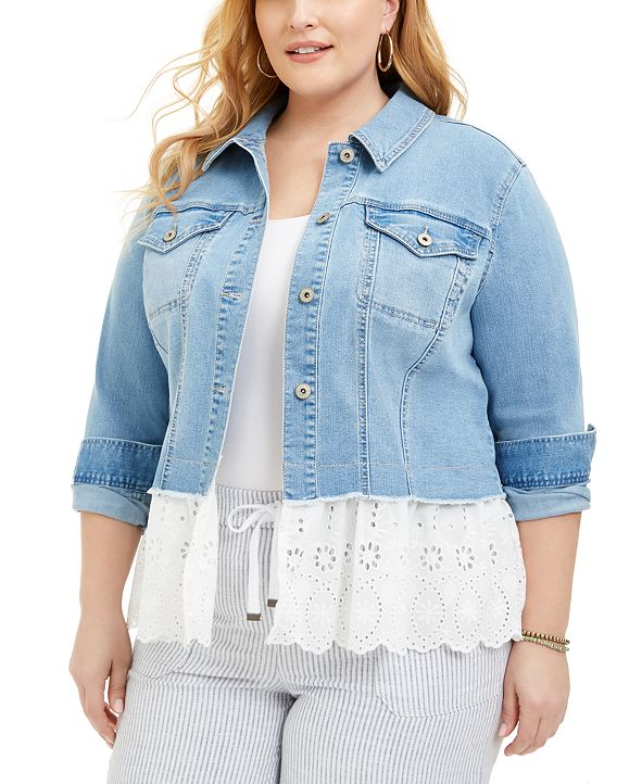 Style & Co Plus Size Eyelet-Hem Denim Jacket, Created for Macy's