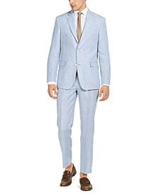 Men's Classic-Fit THFlex Stretch Blue & Tan Plaid Linen Suit Separates
