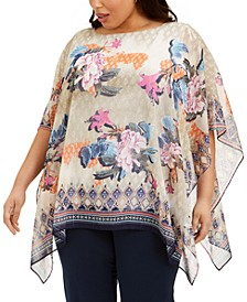 Plus Size Bali Dream Poncho Top, Created for Macy's