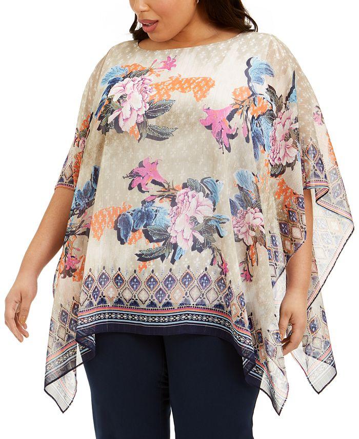 JM Collection - Plus Size Bali Dream Poncho Top