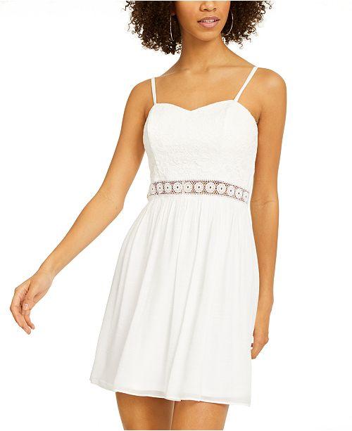 BCX Juniors' Crochet-Trim Fit & Flare Dress