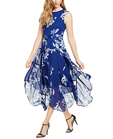 Floral Chiffon Handkerchief-Hem Dress