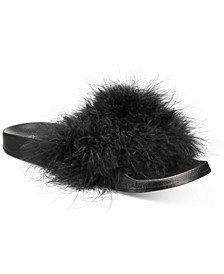 Women's Faux-Marabou Pool Slides, Created for Macy's