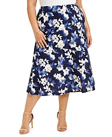 Plus Size Printed Jacquard Midi Skirt, Created for Macy's