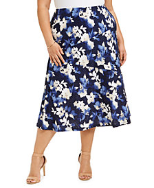 JM Collection Plus Size Printed Jacquard Midi Skirt, Created for Macy's