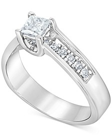 Diamond Princess Engagement Ring (3/4 ct. t.w.) in 14k White Gold