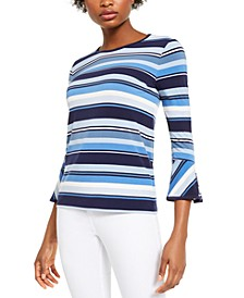 Striped Bell-Sleeve Top, Regular & Petite Sizes