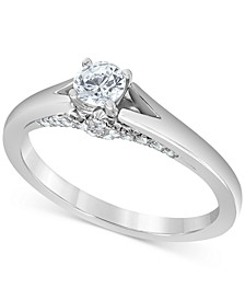 Macy's Star Signature Certified Round Solitaire Diamond Engagement Ring (1/2 ct. t.w.) in 14k White Gold