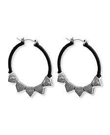 "Rhinestone Triangle Hoop Earrings, 1.7"""
