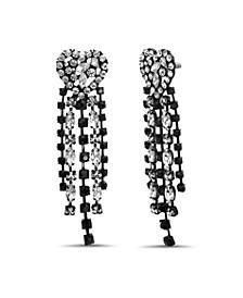 Rhinestone Heart Chain Tassel Earring