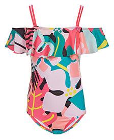 Calvin Klein Big Girls 1-Pc. Tropical Flutter Swimsuit