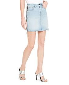 Denim Side-Zip Mini Skirt