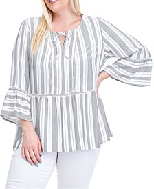 Plus Size Striped Bell-Sleeve Peasant Top
