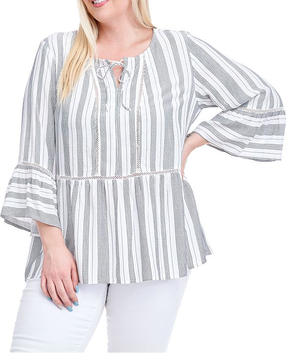 Fever Plus Size Striped Bell-Sleeve Peasant Top