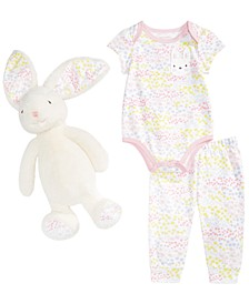 Baby Girls Bunny Bodysuit, Printed Jogger Pants & Bunny Rabbit Toy Separates, Created for Macy's