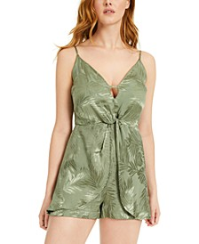 Desta Palm Sleeveless Jacquard Romper