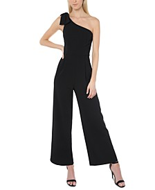 Juniors' One-Shoulder Bow Jumpsuit