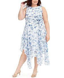 Calvin Klein Plus Size Belted Handkerchief-Hem Midi Dress