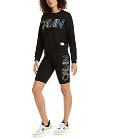 Outline-Logo Sweatshirt & Bike Shorts