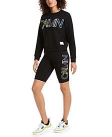 Calvin Klein Performance Outline-Logo Sweatshirt & Bike Shorts