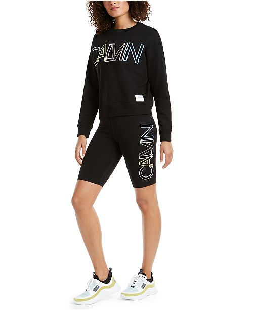 Calvin Klein Outline-Logo Sweatshirt & Bike Shorts