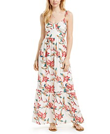 Juniors' On A Whim Cotton Floral-Print Maxi Dress