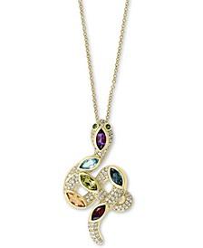 "EFFY® Multi-Gemstone (1-3/4 ct. t.w.) & Diamond (3/8 ct. t.w.) 18"" Serpent Pendant Necklace in 14k Gold"