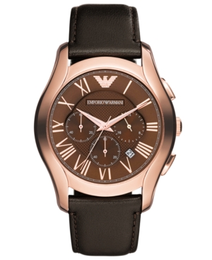 Emporio Armani Watch, Men's Chronograph Dark Brown Leather Strap 45mm AR1701