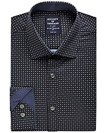 Men's Slim-Fit Performance Dot Print Dress Shirt