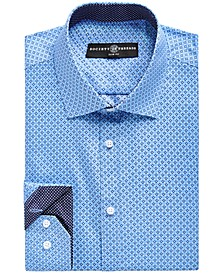 Men's Slim-Fit No-Iron Stretch Geo Print Dress Shirt
