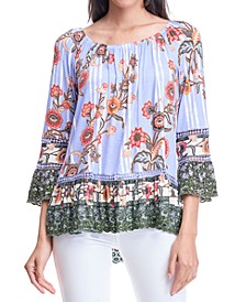 Printed Scalloped-Edge Top