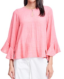 Ruffled-Cuff Split-Neck Top