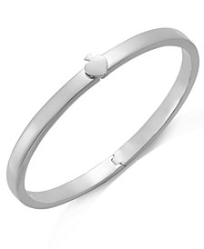 kate spade new york Bracelet, Silver-Tone Spade Thin Hinged Bangle Bracelet