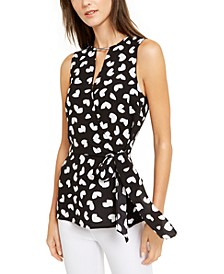 Petal-Print Crossover Top, Regular & Petite