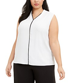 Plus Size Contrast-Trim Blouse