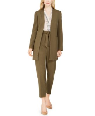"""TAUPE BROWN GOLD COTTON BLEND STRETCH STRIPE FABRIC 60/""""W PANTS SUIT JACKET SKIRT"""