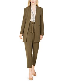 Open-Front Jacket, Printed Sleeveless Top & Pleated Slim-Leg Pants