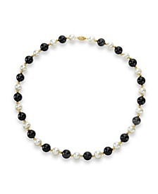 "White Freshwater Cultured Pearl (9-9.5mm) with Black Onyx (10mm) and Gold Beads (3mm) 18"" Necklace in 14k Yellow Gold"