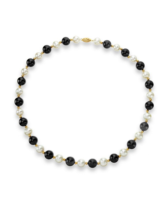 """Macy's - White Freshwater Cultured Pearl (9-9.5mm) with Black Onyx (10mm) and Gold Beads (3mm) 18"""" Necklace in 14k Yellow Gold"""
