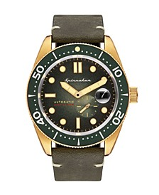Men's Croft Automatic Green Genuine Leather Strap Watch 43mm