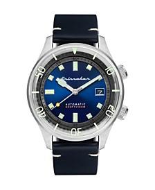 Men's Bradner Automatic Black Genuine Leather Strap Watch 42mm