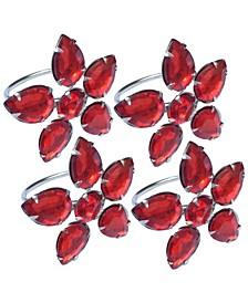 Crystal Flower Metal Napkin Rings, Set of 4