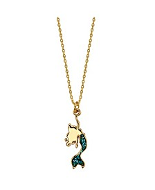 Gold Flash Plated Little Mermaid Necklace with Blue Enamel Tail for Unwritten
