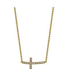 Gratitude & Grace Gold Tone Cubic Zirconia Sideways Cross Pendant Necklace