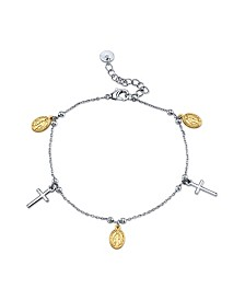 Gratitude & Grace Two-Tone Cross and Saint Charm Bracelet