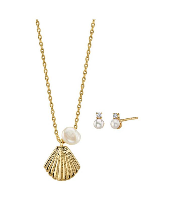 Unwritten - 2-Pc. Set Pearl Shell Pendant Necklace & Stud Earrings in Gold Tone, Created For Macy's