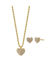 2-Pc. Set Cubic Zirconia Mini Heart Necklace & Stud Earrings in Gold Tone, Created for Macy's