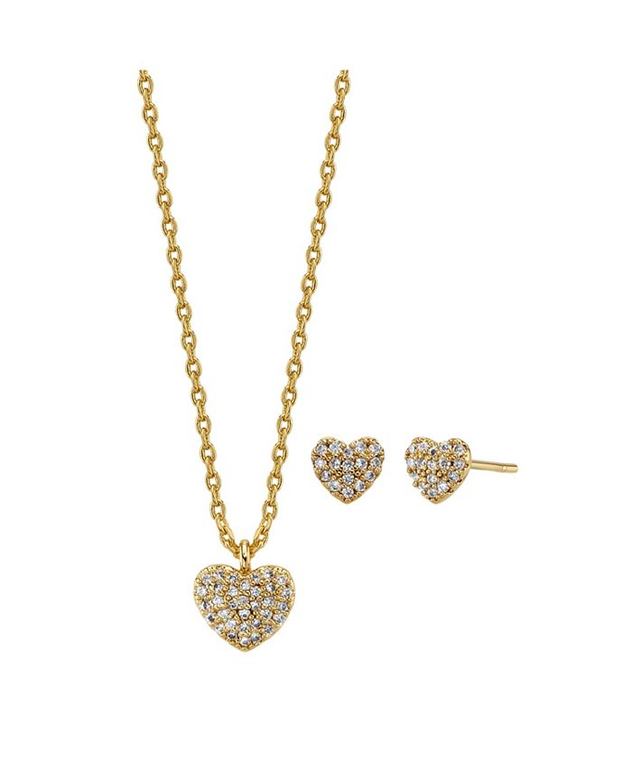 Unwritten - 2-Pc. Set Cubic Zirconia Heart Necklace & Stud Earrings in Gold Tone, Created For Macy's