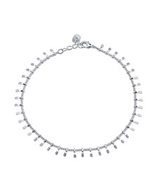 Silver Plated Hammered Bead Anklet